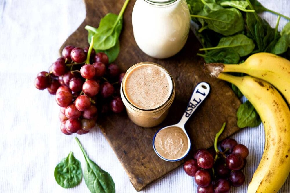 Banana Almond Butter Smoothie with grapes
