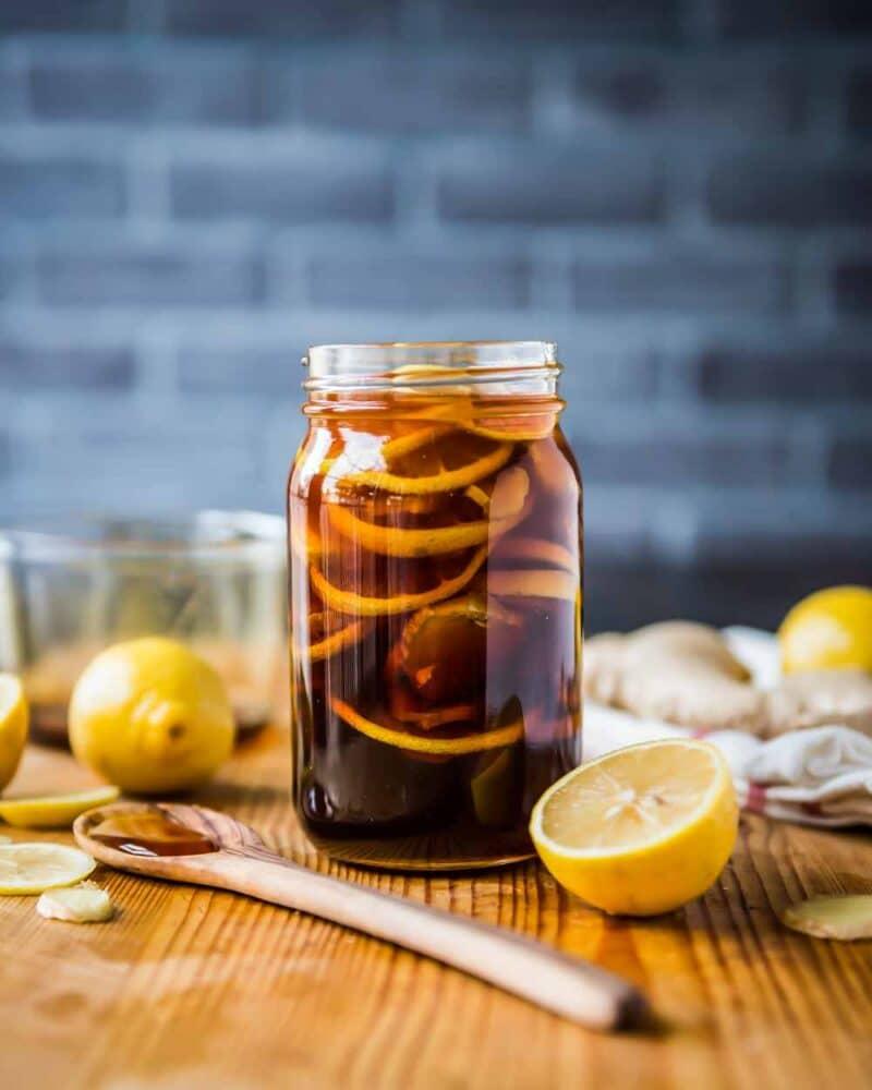 Ginger lemon honey tea for cough home remedy