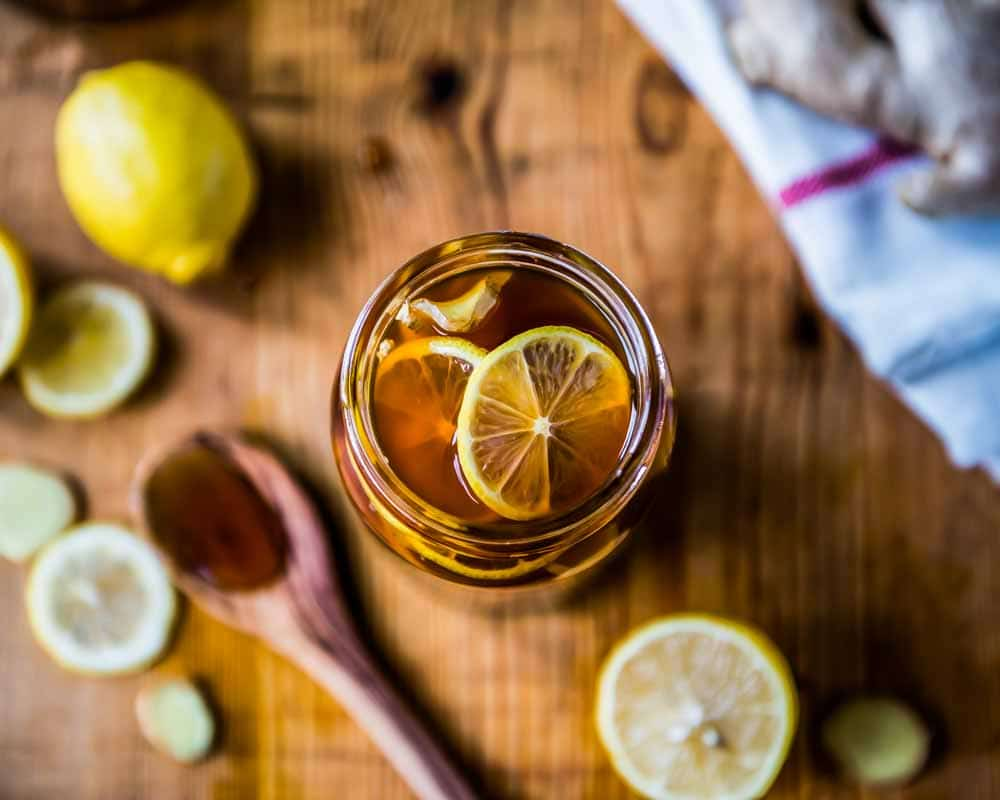 All natural ginger honey lemon tea cough remedy