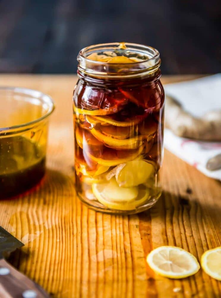 a beautiful jar ready for cold + flu season, as a home remedy for sore throat