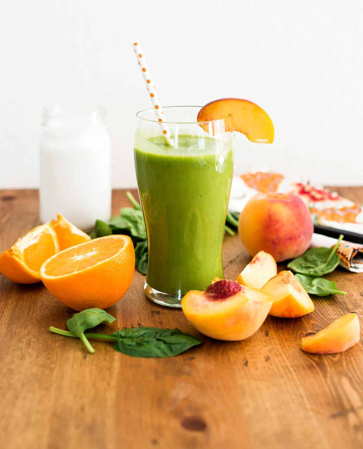 Healthy Peach Smoothie with Coconut milk