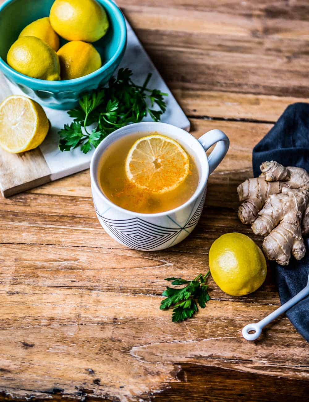this mug of morning tonic included in our best drinks for weight loss list includes lemon, ginger, parsley, and cayenne.