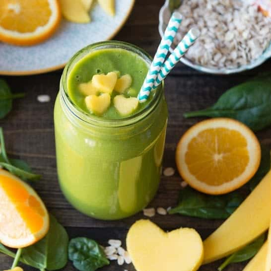 Heart Healthy Takes Two To Mango Green Smoothie | SimpleGreenSmoothies.com