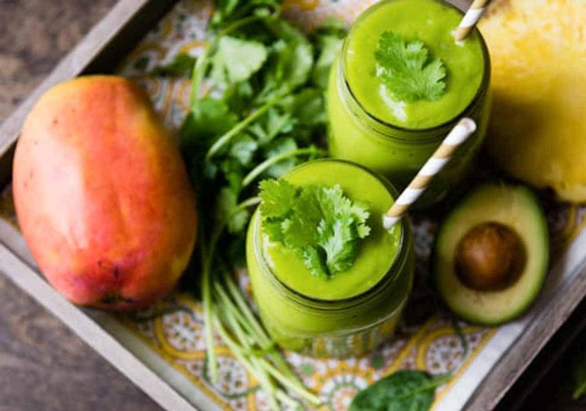 Green veggie smoothie with cilantro