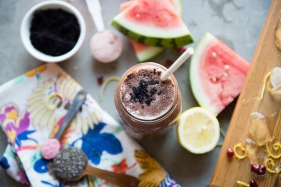 Cancer fighting watermelon smoothie with antioxidants and Acai powder
