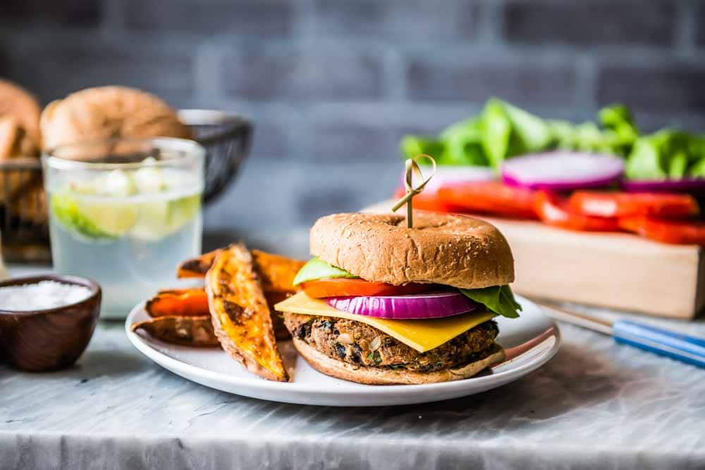 black bean burger with crispy sweet potato wedges