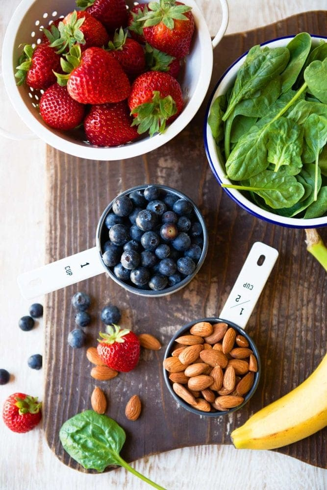 Berry Protein Smoothie ingredients with almonds