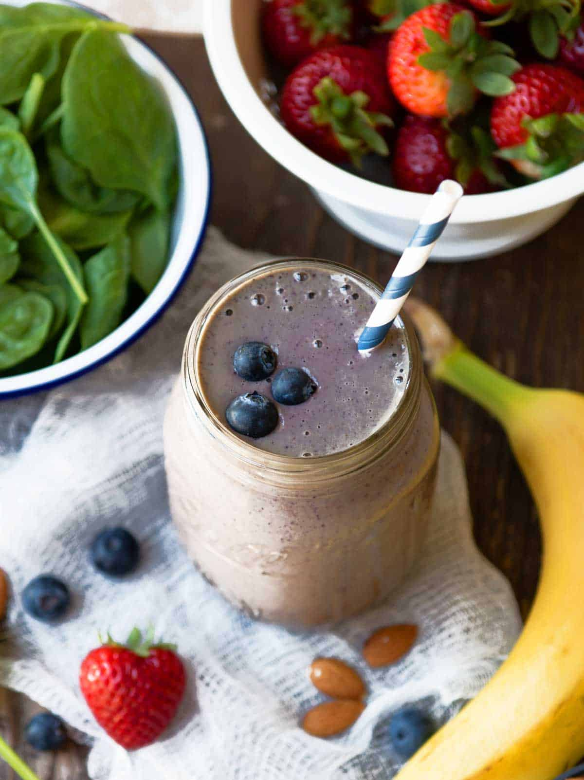 Berry protein smoothie for our 10-day challenge