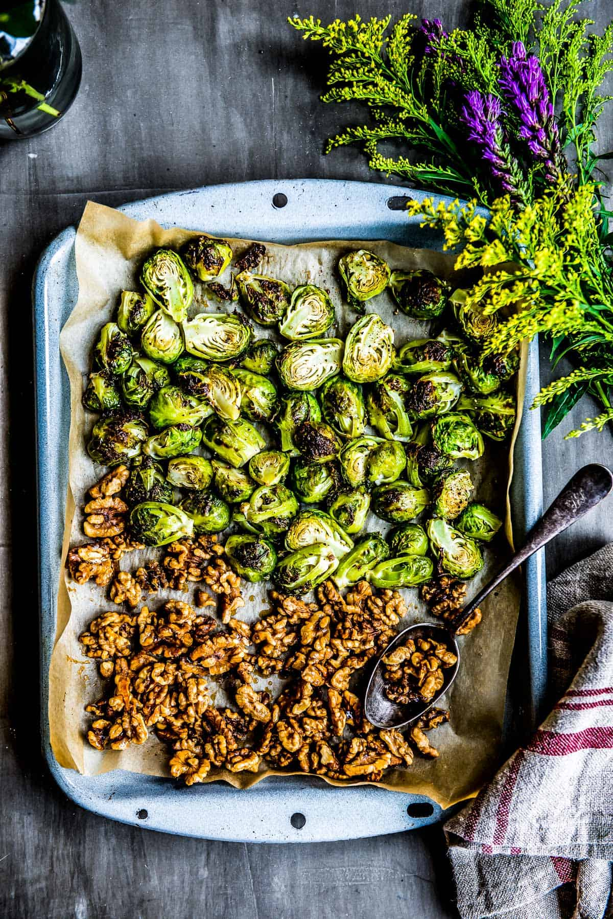 Roasted brussel sprouts with maple walnuts