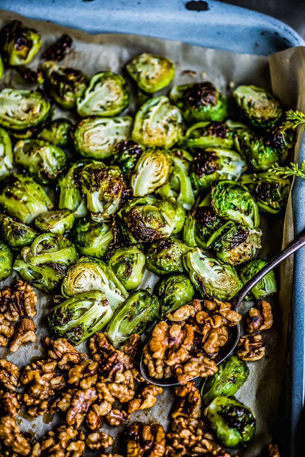 oven roasted brussel sprouts with candied walnuts