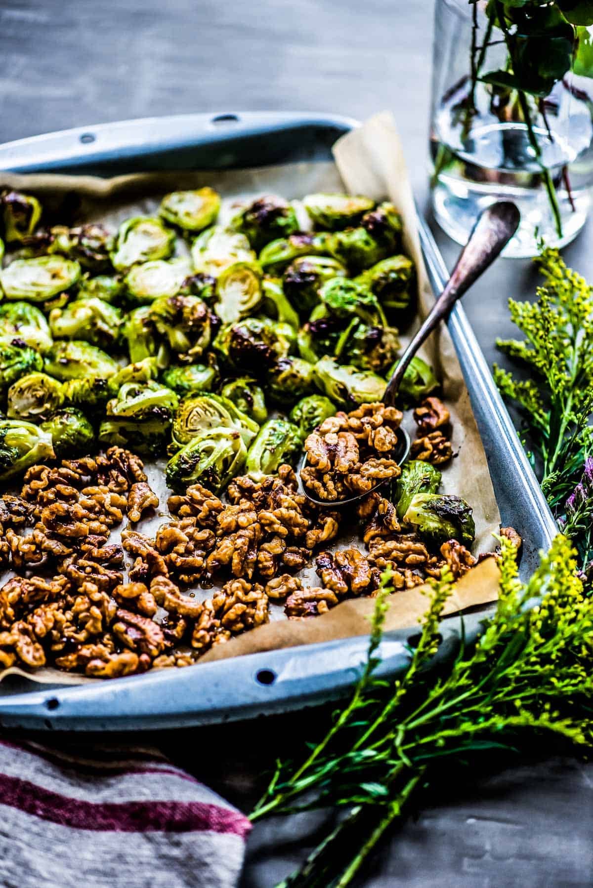roasted brussel sprouts ready for the oven