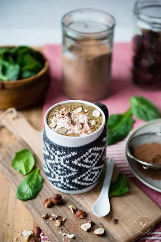 Healthy Dessert: Warm Hazelnut Hot Chocolate Green Smoothie