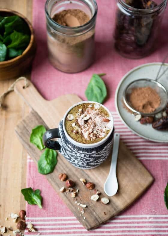 Warm Hazelnut Hot Chocolate Green Smoothie
