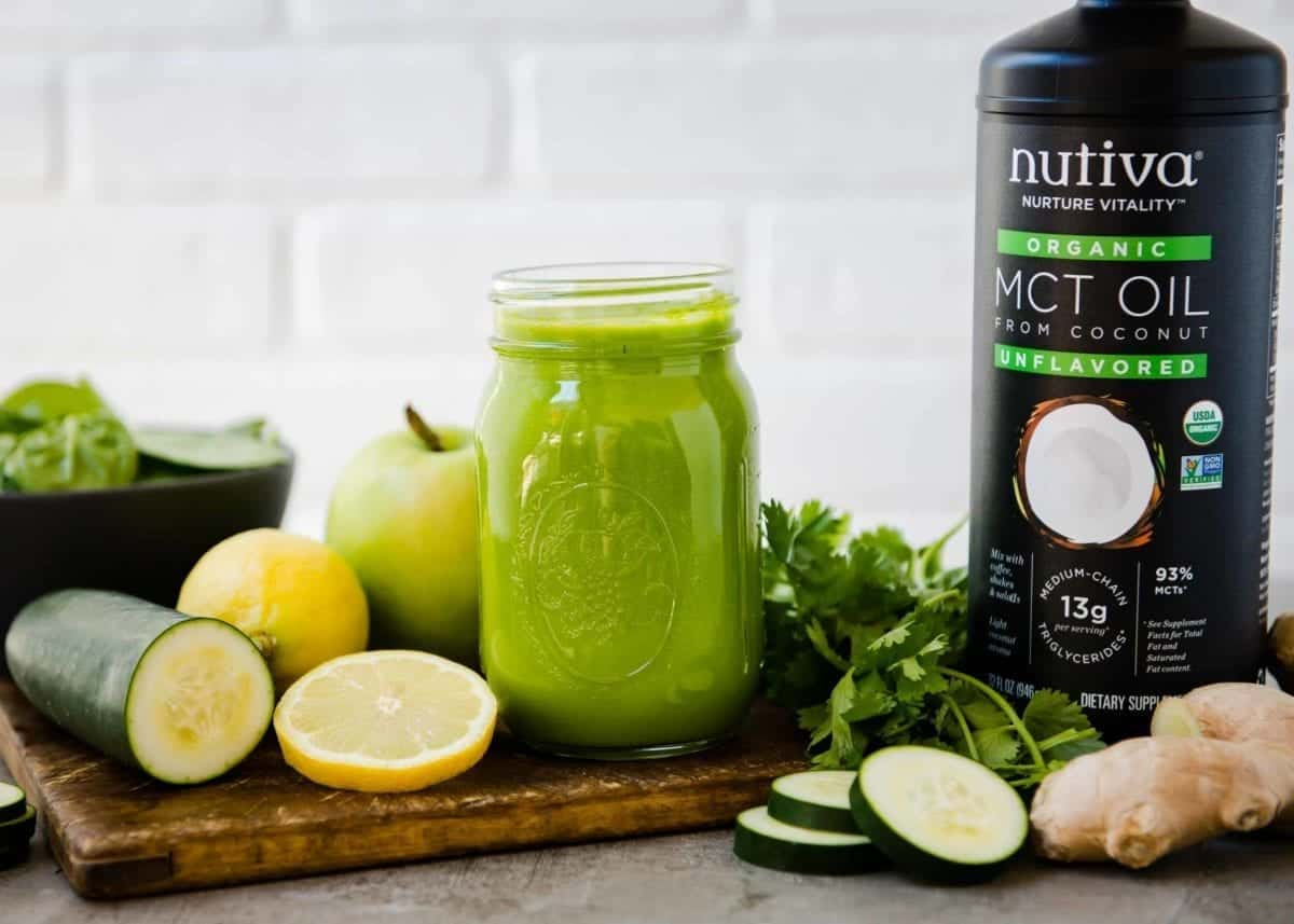 Digestion Boost Green Smoothie with MCT Oil