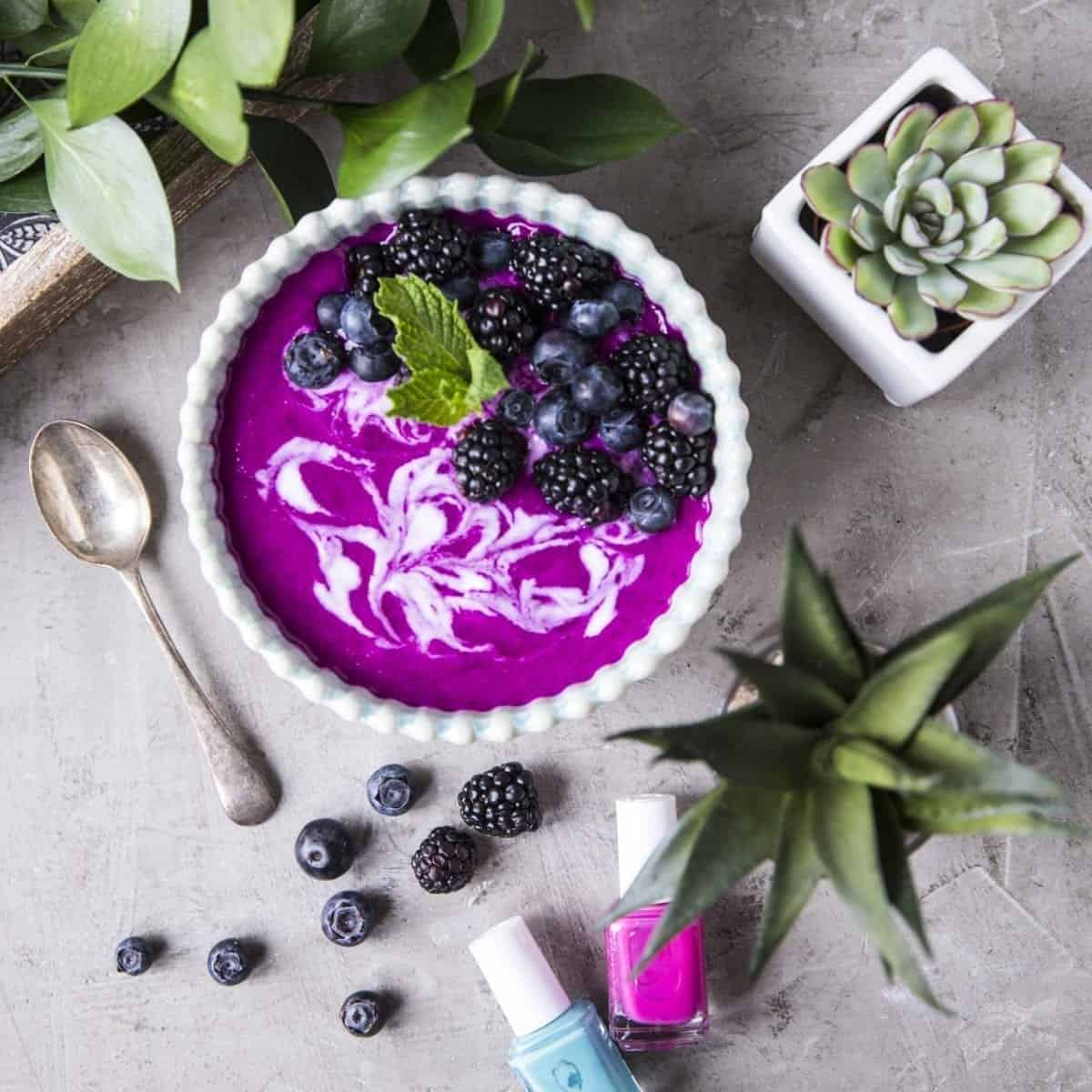 Dragon Fruit Smoothie Bowl with blueberries and blackberries
