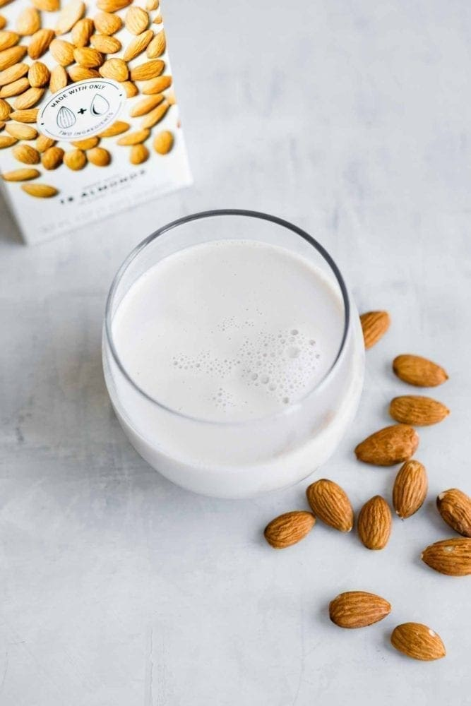 Almond milk in glass