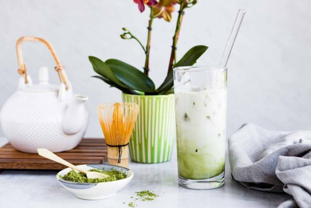 Healthy vegan matcha latte