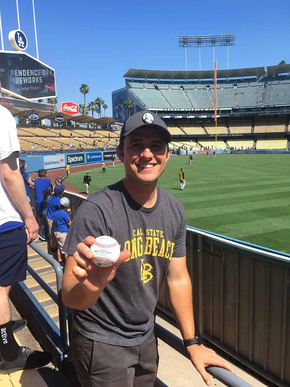 Ryan Hansard catches pre-game ball at LA Dodgers game