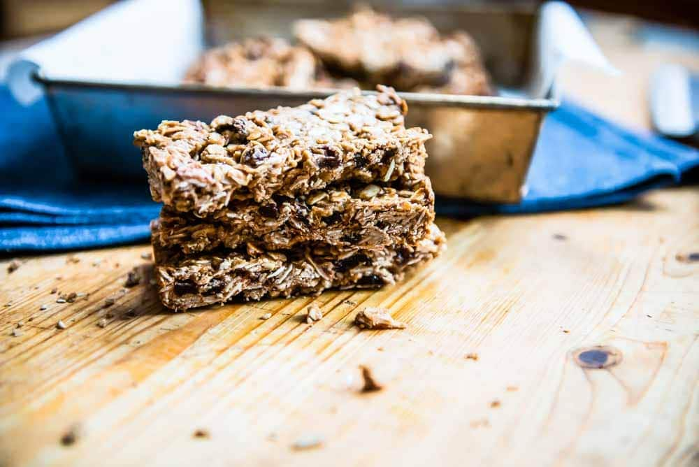 A stack of homemade granola bars, ready for an adventure.