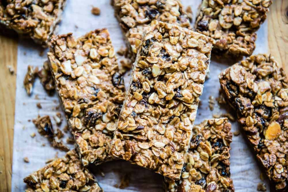 stack of homemade granola bars made with plant based ingredients