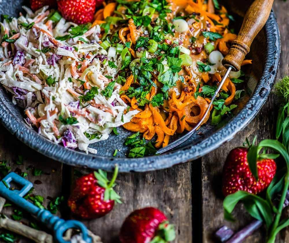 sweet potato noodles with almond butter and slaw, gluten free noodles