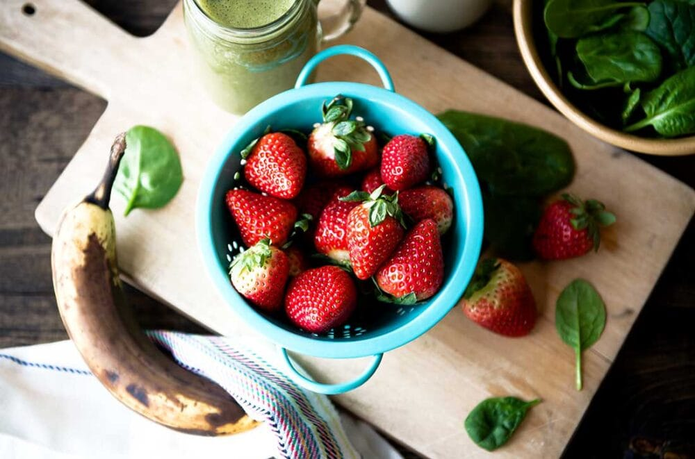 Ingredients for a healthy strawberry banana smoothie