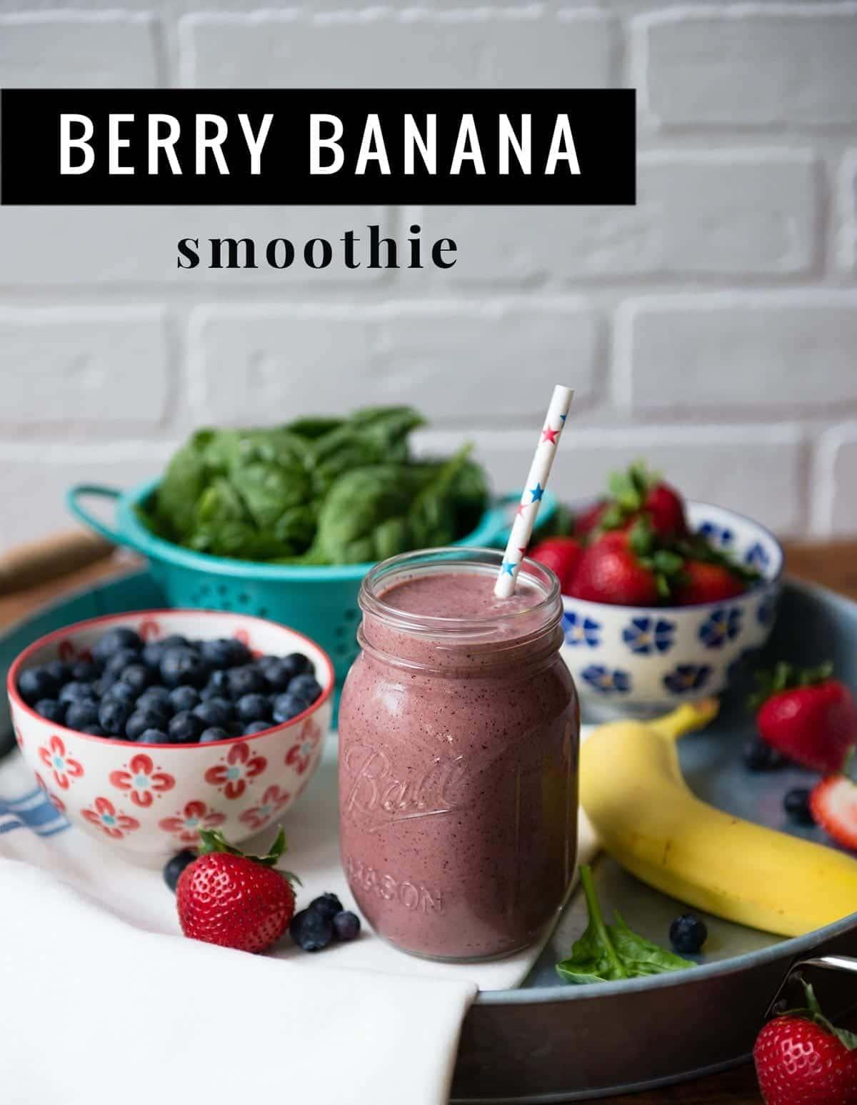 Berry Banana Smoothie   SimpleGreenSmoothies.com #vegan #plantbased #greensmoothie