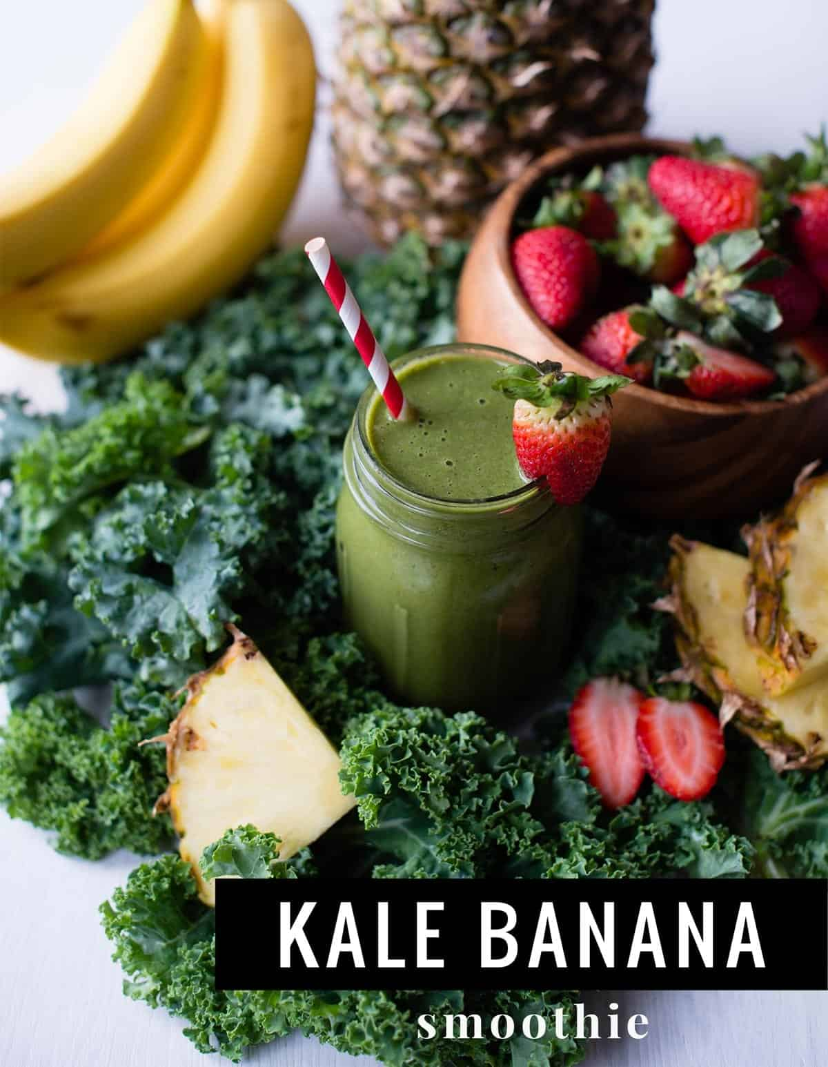 Kale Banana Smoothie   SimpleGreenSmoothies.com #plantbased #vegan #greensmoothie #kalesmoothie