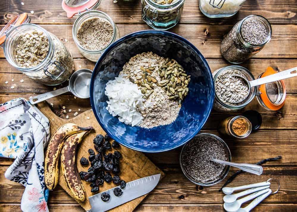 overhead shot of the incredible bunch of ingredients used to make this vegan protein bars recipe.