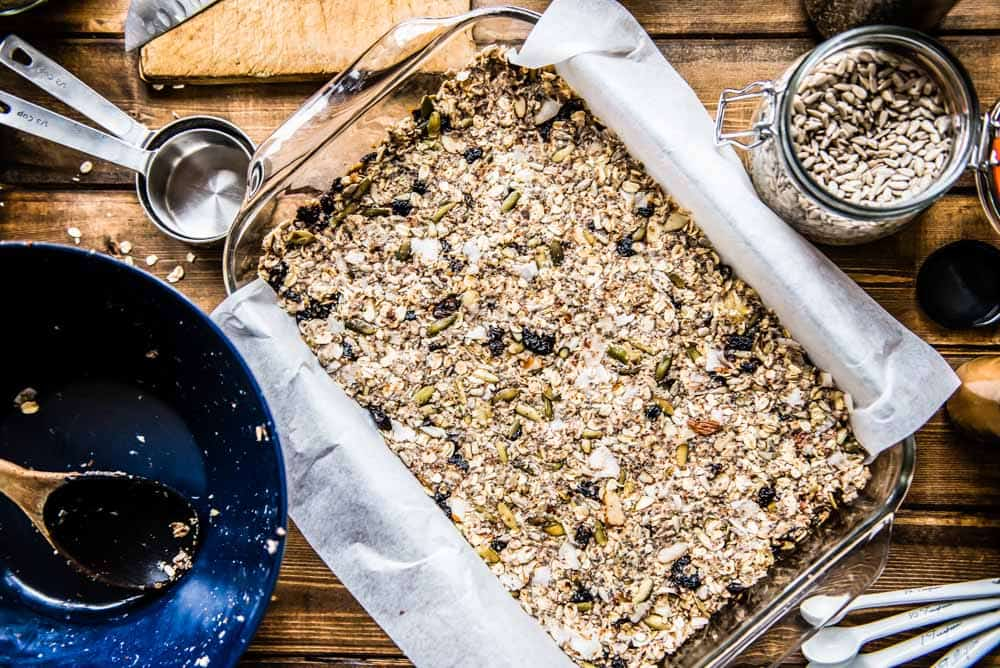 the finished product: a pan full of vegan protein bars, made from scratch with this protein bars recipe.