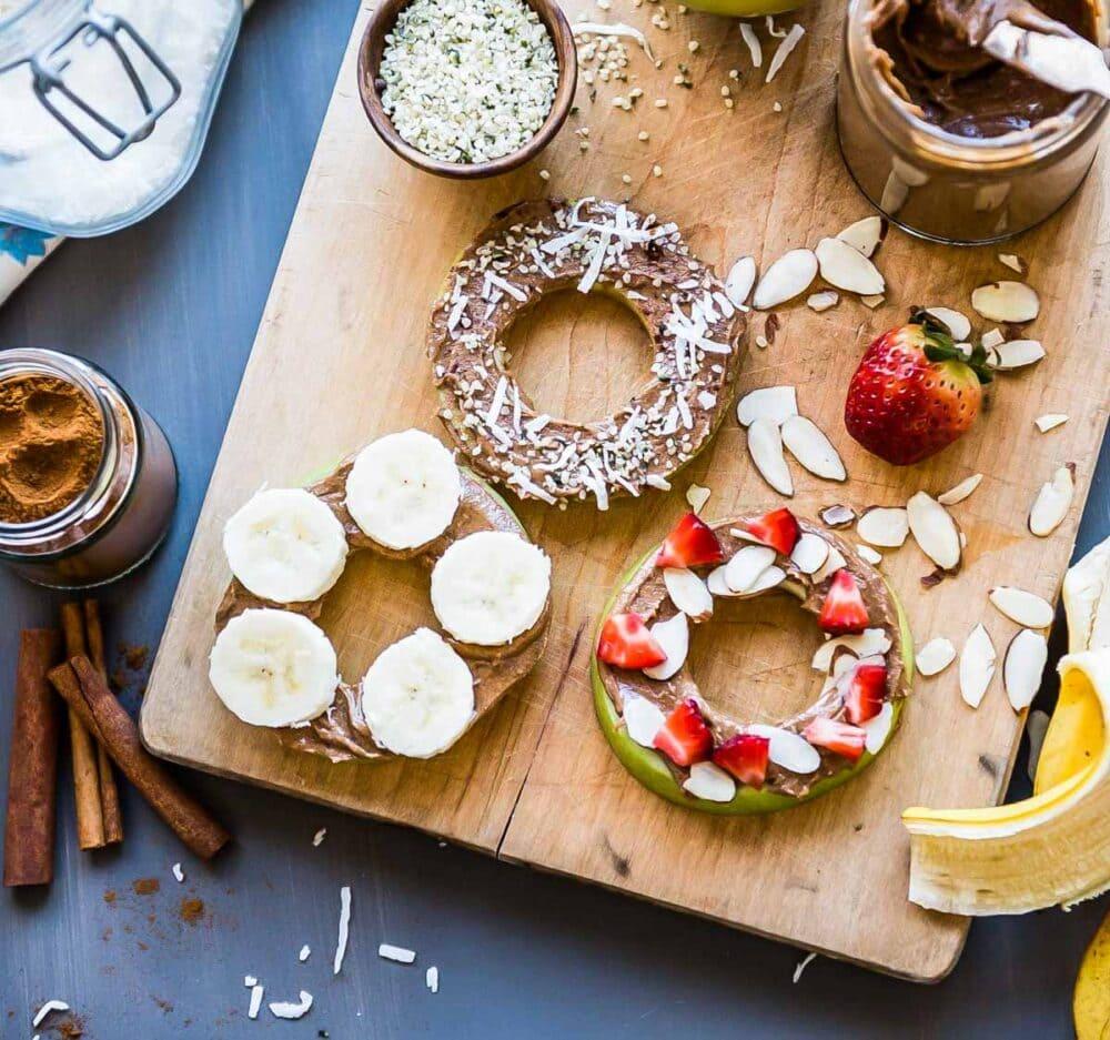 Apple donuts make a great vegan snack