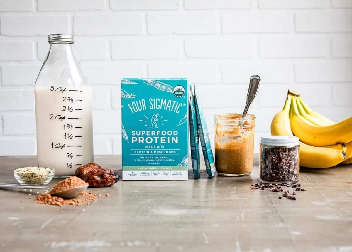 Ingredients used in a Chocolate Protein Shake include plant-based items