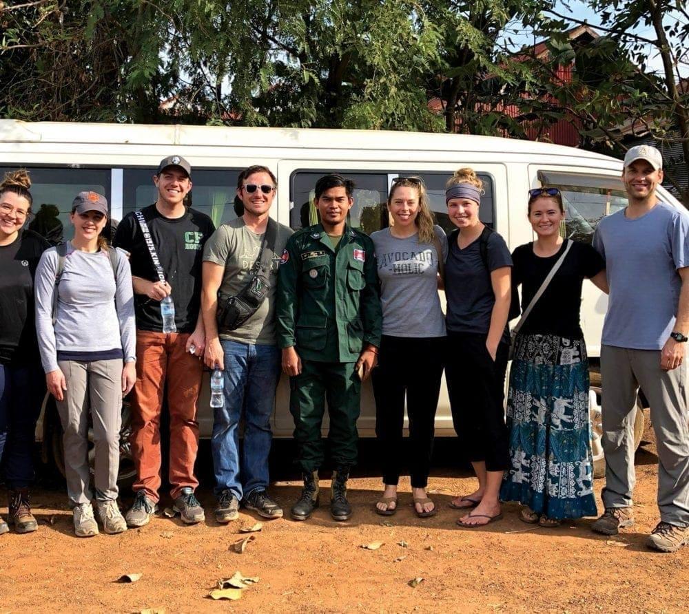 team in cambodia at mushroom project