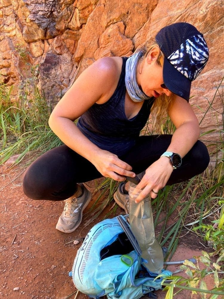 Purifying water while on rim to rim canyon hike