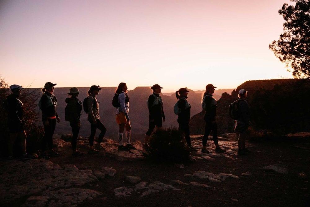 Preparing to camp while hiking Grand Canyon rim to rim