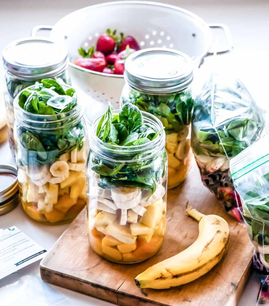 Best green smoothie recipe being prepped to store in freezer