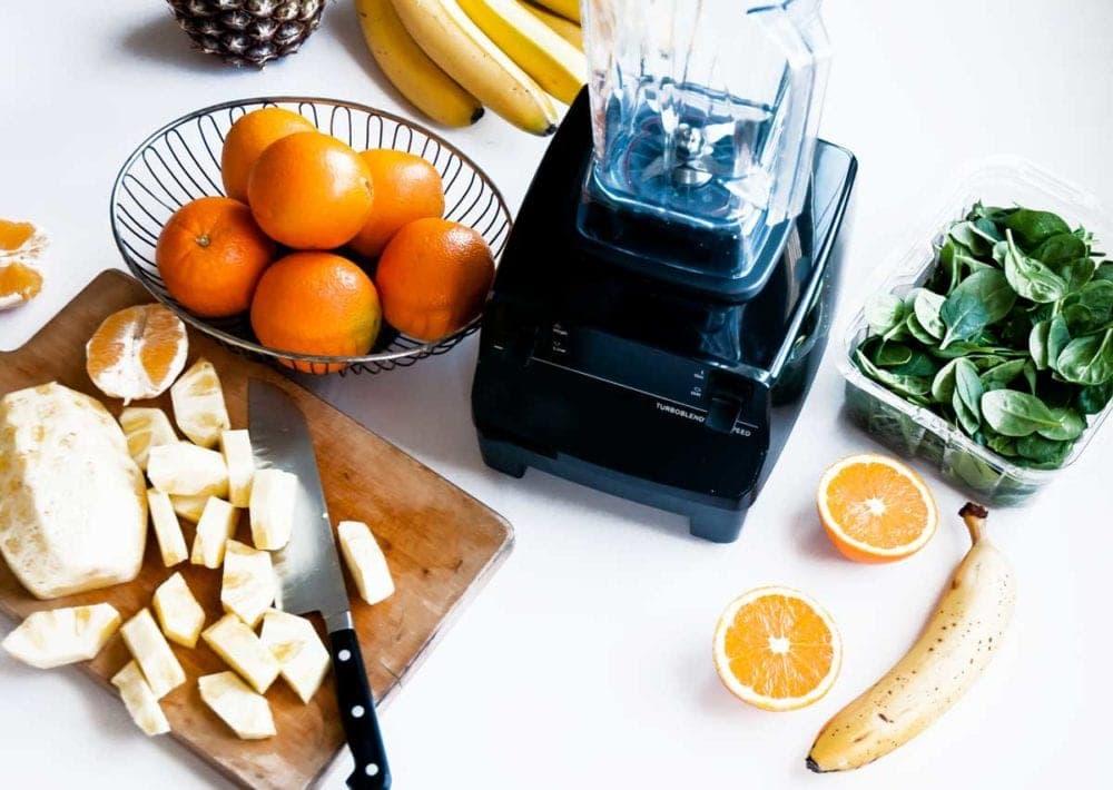 Vegan tropical smoothie ingredients with Vitamix