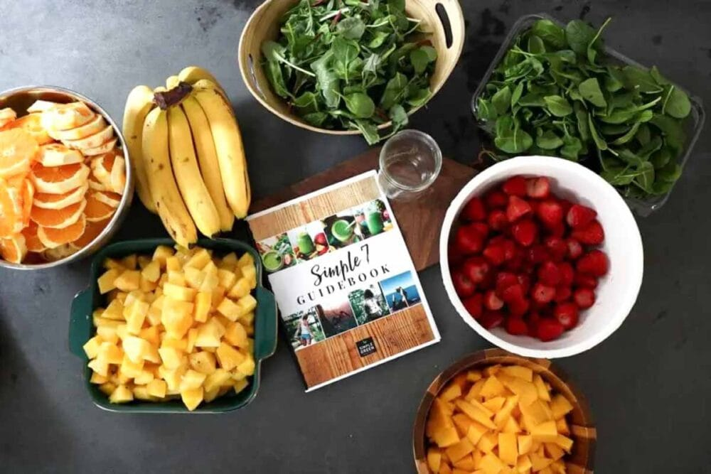 Ingredients for homemade frozen smoothie packs