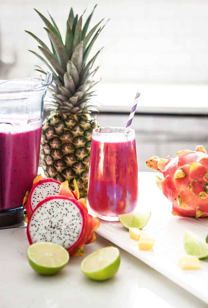 Dragon Fruit Smoothie recipe with lime and mango