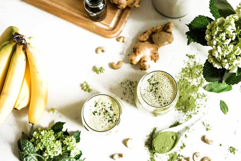 Fresh ginger and banana in this matcha green tea smoothie