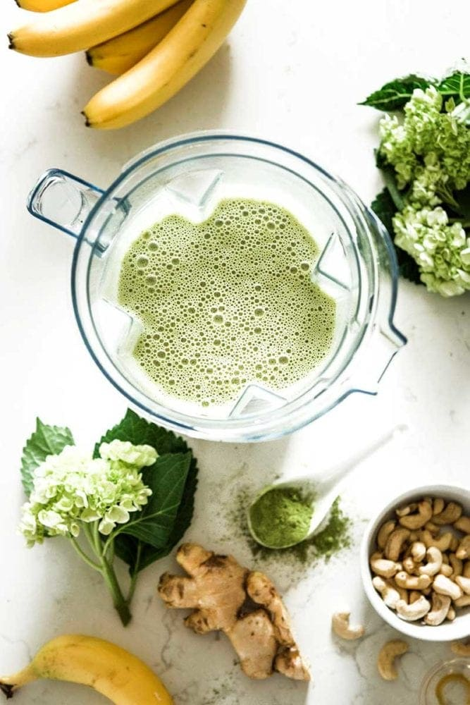 Green tea smoothie in a vitamix