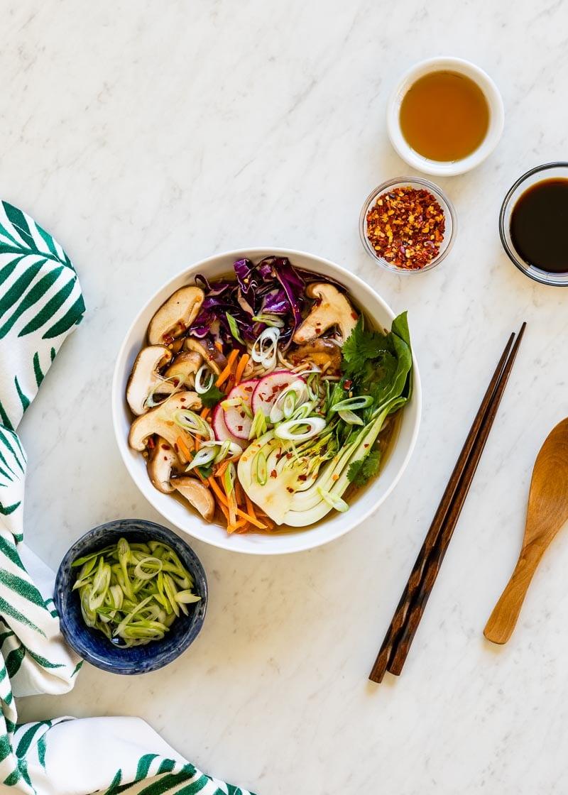 delicious bowl of veggie ramen