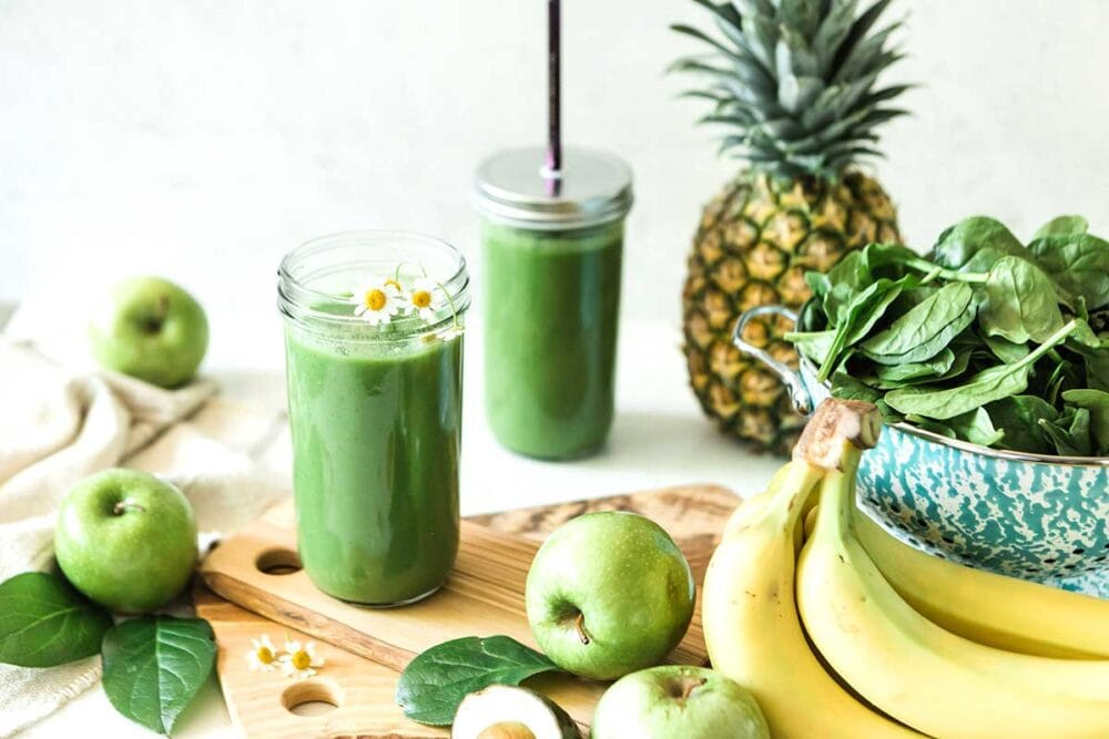 Healthy pineapple green smoothie with granny smith apples