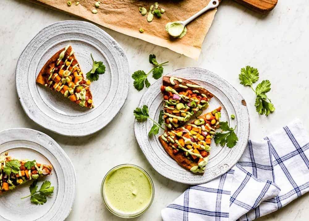 Freshly baked veggie pizza recipe with gluten free crust