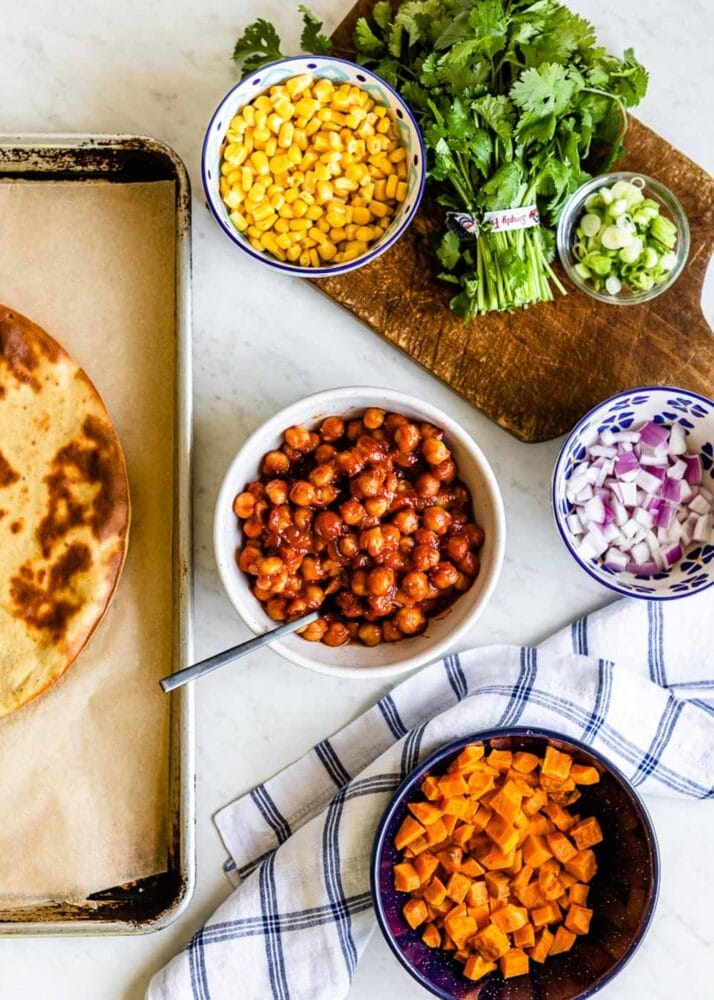 BBQ Vegetarian Pizza recipe with chickpeas and sweet potatoes