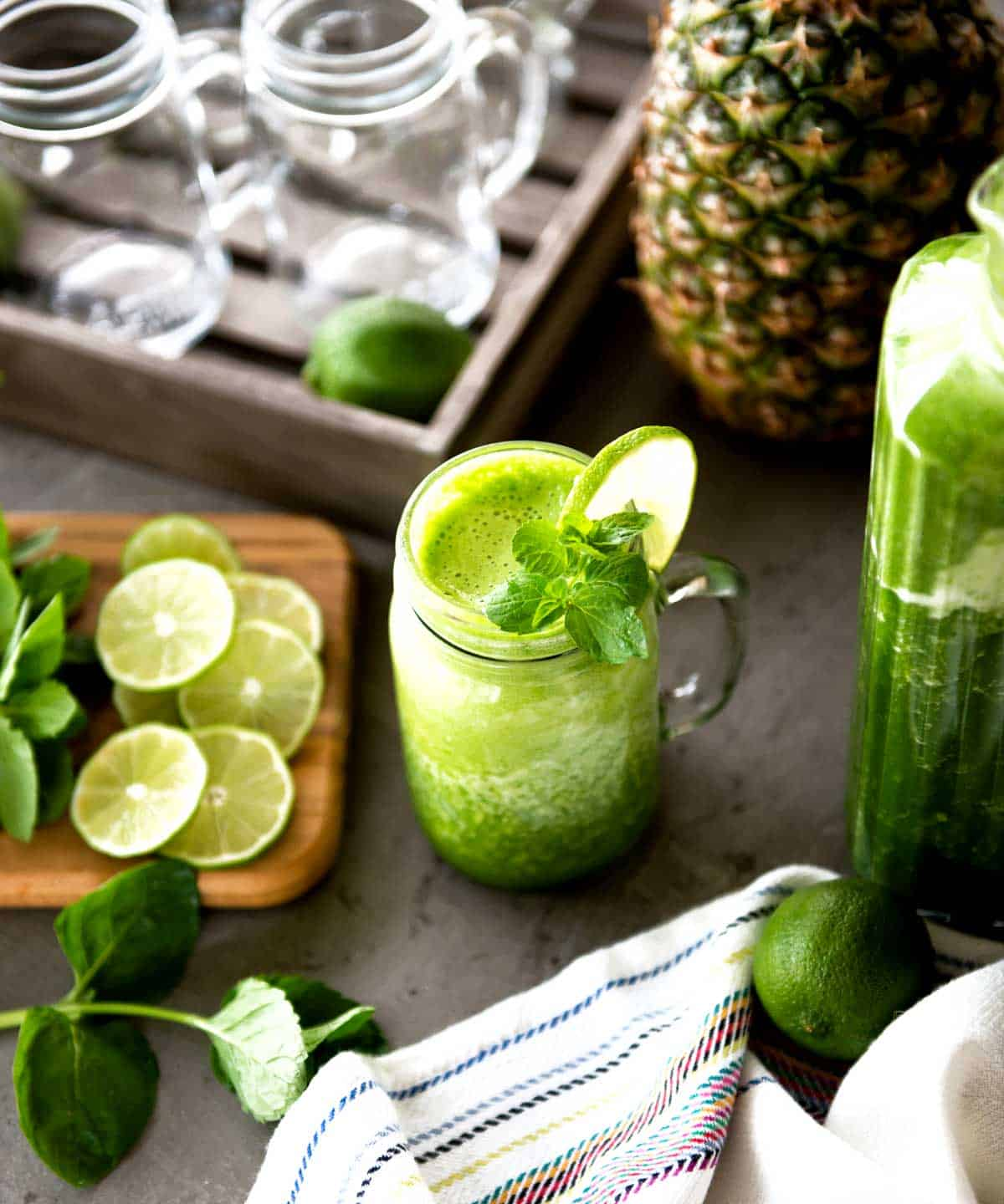 Tropical pineapple mint green smoothie recipe