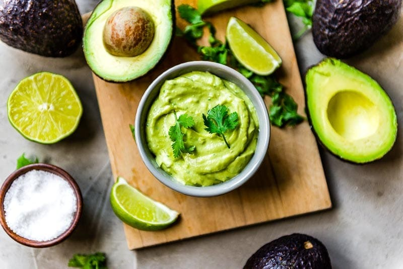 Blended avocados, coconut milk, lime and sea salt in a blender to create this creamy result.