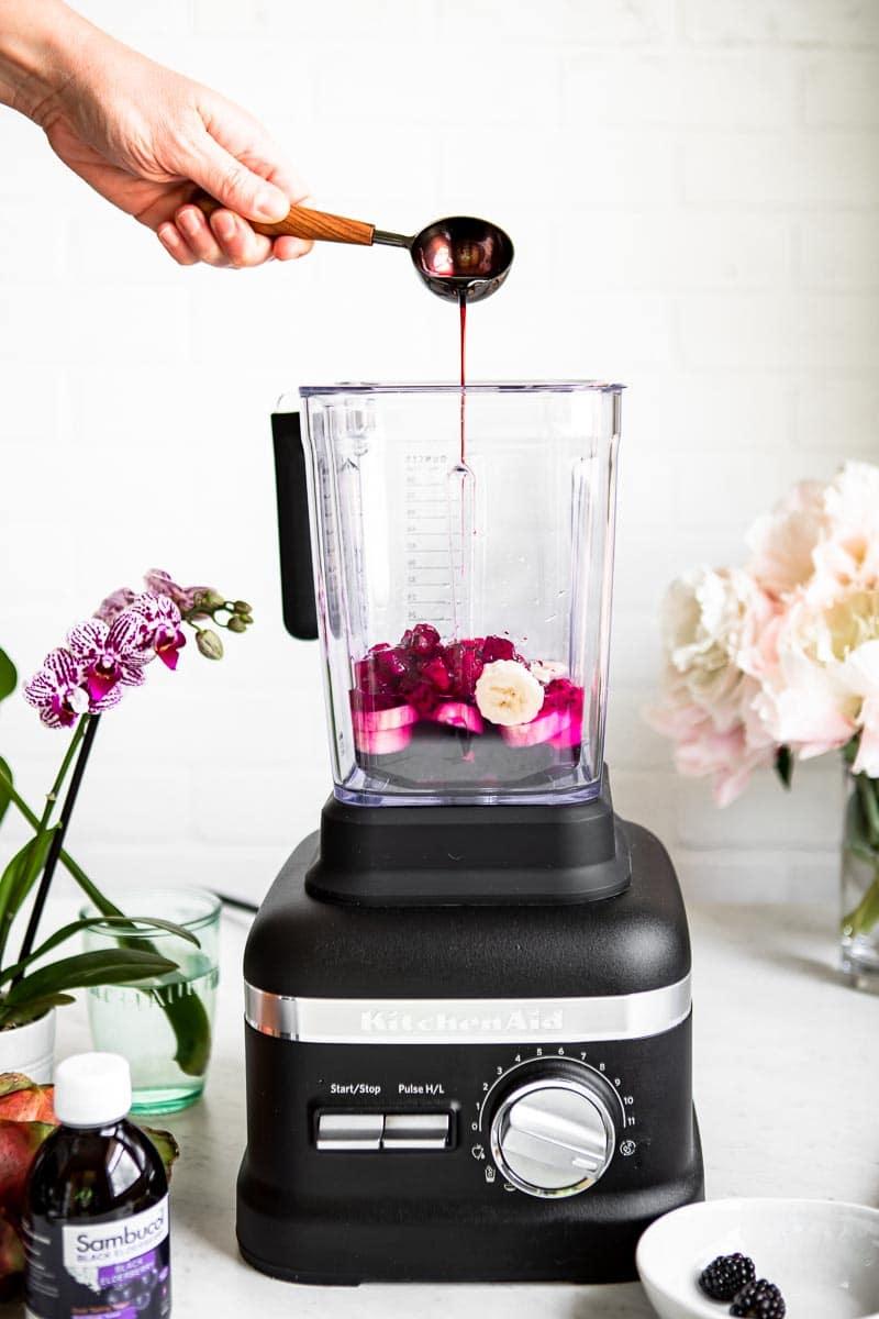 Adding elderberry syrup to a smoothie recipe