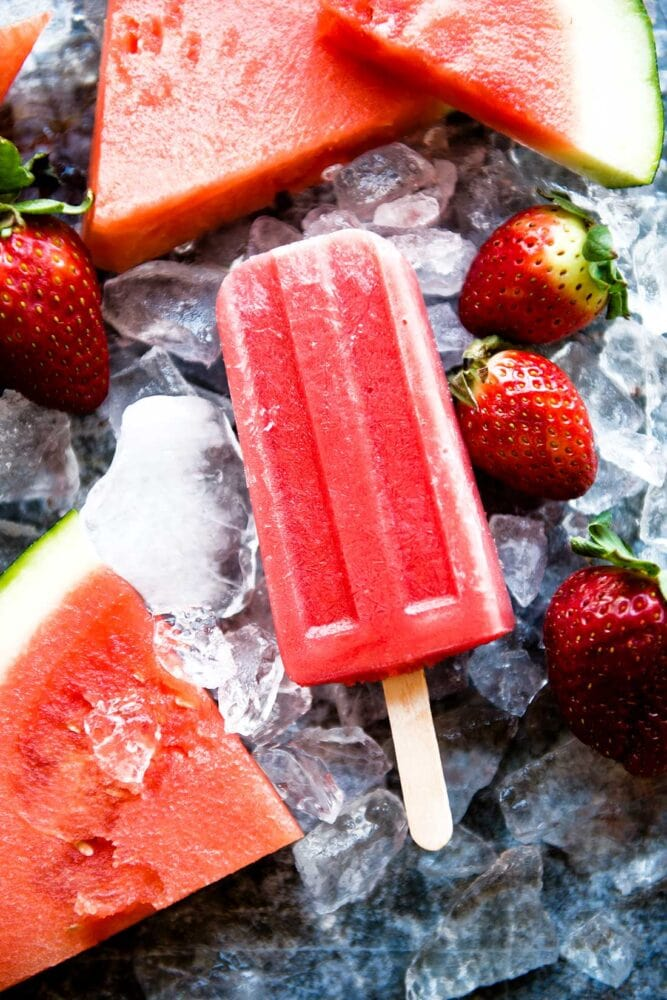 Watermelon and strawberries in a homemade popsicle recipe