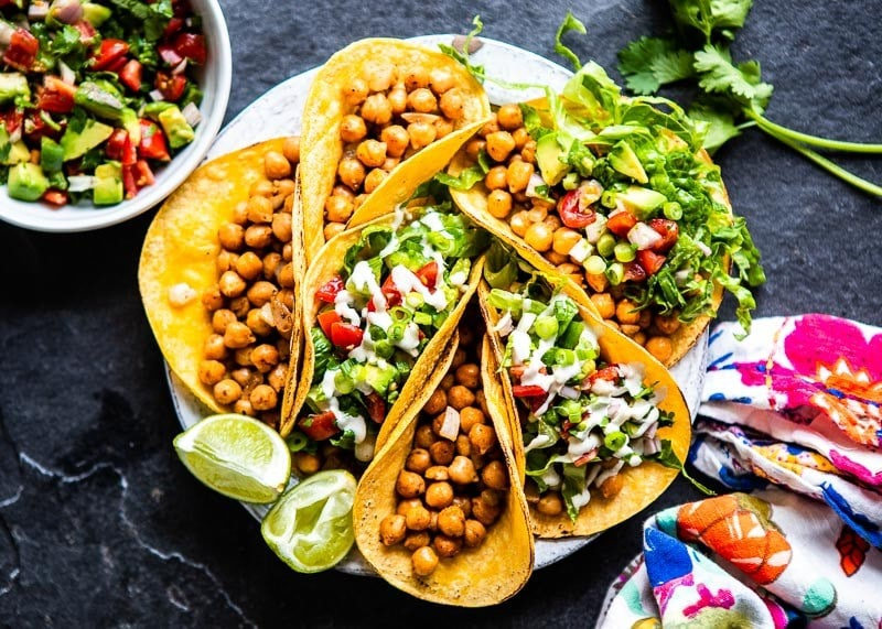 Spicy Chickpea Tacos  with fresh veggies for toppings